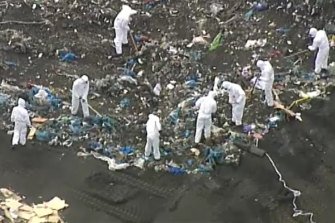 Police search a landfill site in Wollert on Tuesday as part of the investigation into the disappearance of Ju Zhang.