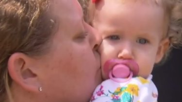 Lisa Easton with her daughter Violet, who will not be returning to childcare after Tuesday's incident.