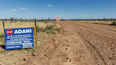 The road to Adani's proposed Carmichael coal mine west of Moranbah.