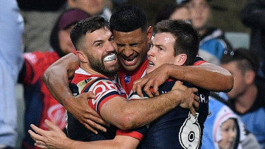 Blues clues: James Tedesco, left, and Luke Keary, right, have formed a strong combination at the Roosters.