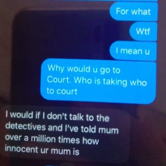 Text messages between Cherie Meyer's son and one of the students at the centre of Education Department allegations against her.