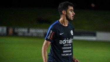 Bahraini refugee Hakeem Al-Araibi on the field for Pascoe Vale FC.