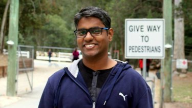 Gibin Kaduvannoor John narrowly escaped injury when a car drove towards him inside a cycleway in the Sydney CBD.