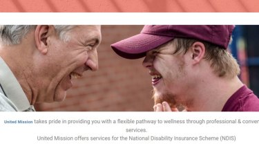 An image from the website of United Mission, one of three registered NDIS providers targeted by the six-month investigation for alleged fraud.