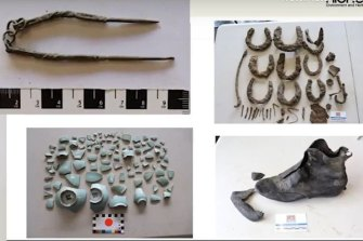 Chinese leather works and an opium pipe pick (top left) found under Lower Albert Street during Cross River rail excavation team.