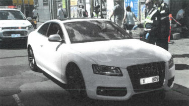 Emad Zarghami's Audi, which was stopped outside Crown Casino on Boxing Day in 2017.