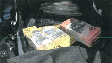 The drugs and cash seized by police whenEmad Zarghami's Audi was stopped outside Crown casino on Boxing Day in 2017.