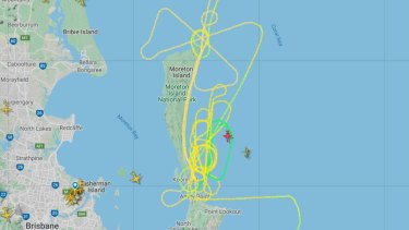 The Thursday morning flight path of an aircraft involved in the search.