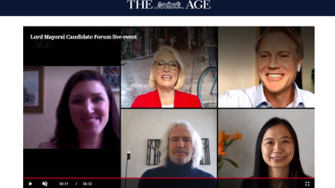 The Age city editor, Bianca Hall was joined by the candidates vying to be lord mayor: incumbent Sally Capp, Arron Wood, Phil Reed and Jennifer Yang.