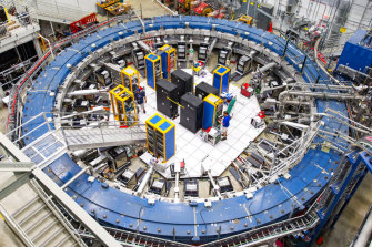The Muon g-2 ring, at the Fermi National Accelerator Laboratory outside Chicago, measures the wobble of muons as they travel through a magnetic field.