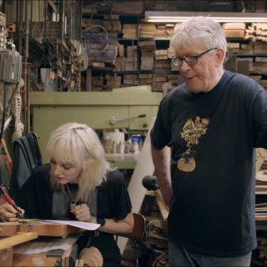 Guitar makers Rick Kelly and Cindy Hulej in their Manhattan workshop.