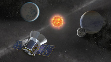 Illustration of NASA's TESS observing a dwarf star with orbiting planets similar to that observed by astronomers.