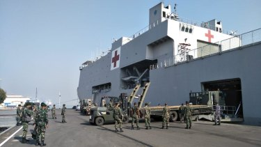 The Indonesian Navy ship will sail from Surabaya to Lombok with medical supplies and personnel on board.
