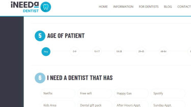 Patient search options for the INeedA Dentist ordering system.