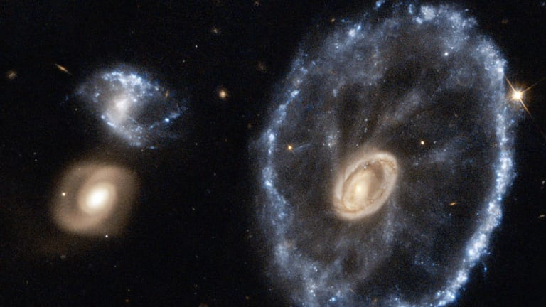 An image of the Cartwheel Galaxy taken by the Hubble Space Telescope.