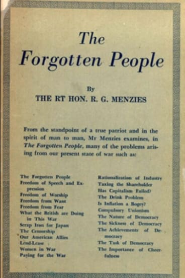 The Forgotten people collection of Robert Menzies radio speeches