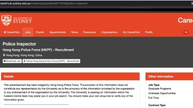 Hong Kong police have placed a job advertisement for a police inspector on a University of Sydney jobs search website.