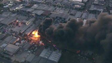 Toxic smoke billows from the site of last week's Campbellfield fire.