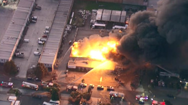 The toxic Campbellfield blaze on Friday morning.
