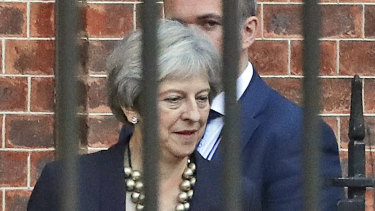 Theresa May leaves 10 Downing Street to give a statement to Parliament on Brexit.