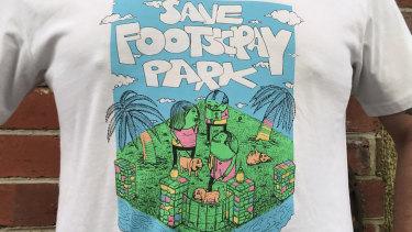 Save Footscray Park merchandise designed by street artist Tia Kass.