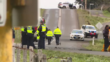 Police at the scene of the crash in Millbrook.