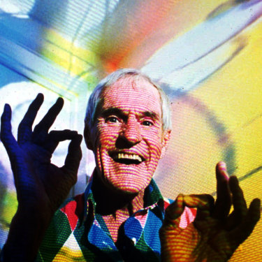 Timothy Leary, the former LSD experimenter, in his home in California in 1992 with video images projected over him. Leary died of cancer in 1996.
