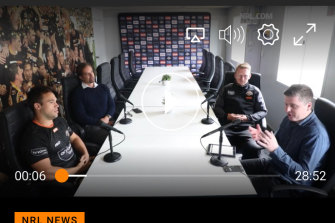CEO Justin Pascoe, assistant coach Andrew Webster, media man Dan Talintyre and star Luke Brooks get up close during a Wests Tigers podcast