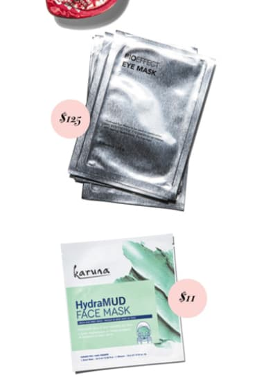 BioEffect EGF Eye Mask, $125 for six. Karuna HydraMud Face Mask, $11.