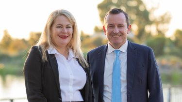 Labor's Darling Range candidate Colleen Yates with Premier Mark McGowan.