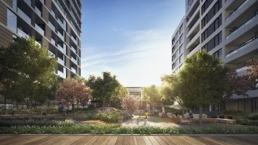 Developer Greenland Australia's project at Lachlan's Line, North Ryde, the site of two new cranes
