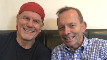 Peter FitzSimons and Tony Abbott  catching up in Mosman.