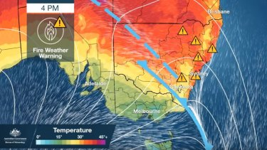 A total fire ban has been declared statewide for Tuesday with hot, windy conditions forecast.