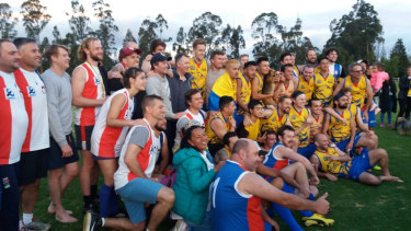 The Santiago Saints and their Bogota Bulldogs opponents after the Andes Cup grand final last year.