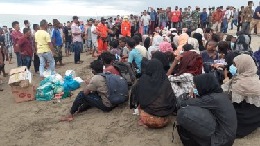 Rohingya refugees rescued off the coast of Indonesia.