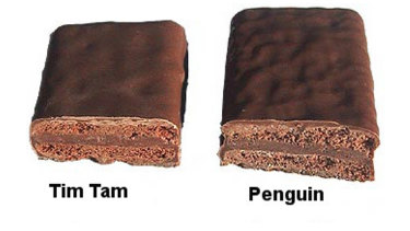 Arnott's Tim Tams can be hard to distinguish from McVitie's Penguin biscuits in a blind tasting.