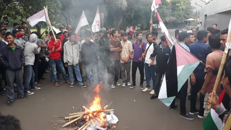 Small groups have protested outside the Australian embassy in Jakarta several times this week.