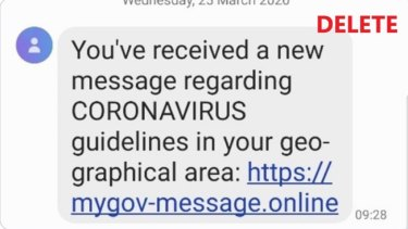 "A fraudulent ""myGov"" text sent in the wake of the COVID-19 outbreak."