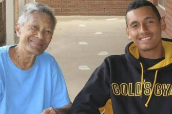 Nick Kyrgios with his late grandmother, Julianah Foster.
