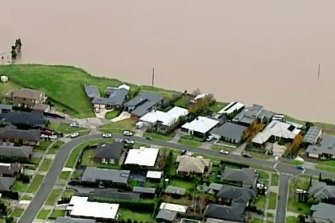 The township of Yallourn during last month's floods.