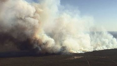 Smoke billows from the Millmerran blaze.
