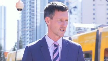 Transport Minister Mark Bailey on the Gold Coast where the Queensland Government announced $2.5 million for a $5 million business case for the fourth leg of the Gold Coast light rail project.