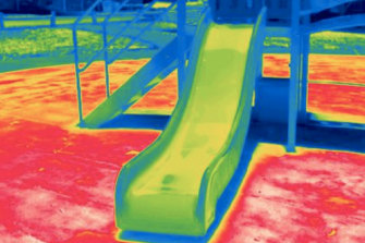 Infrared image shows heat at a western Sydney playground taken in January 2020, with temperatures notching 90 degrees on the unshaded synthetic grass.