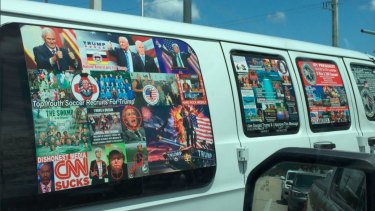 Several social media users had previously noticed the distinct white van that authorities believe Cesar Sayoc jnr owned.