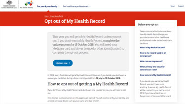 The My Health Record opt-out form.