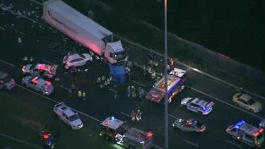 Aerial images of Eastern Freeway crash.