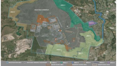 Areas of PFAS contamination at RAAF Base Amberley and nearby suburbs. Main sources of contamination are shown in orange. Areas to be studied now ring the RAAF base.