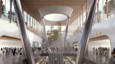 An artist's impression of a Melbourne Airport rail station.