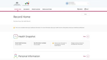 A screenshot of a person's My Health Record.