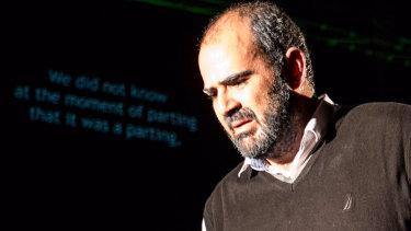 Amer Hlehel as Palestinian poet Taha Muhammad Ali in his play <i>Taha</i>.